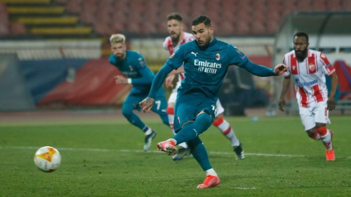 AC Milan's Theo Hernandez scores his side's second goal from penalty spot
