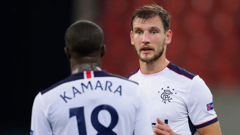 Rangers' Borna Barisic (R) and Glen Kamara