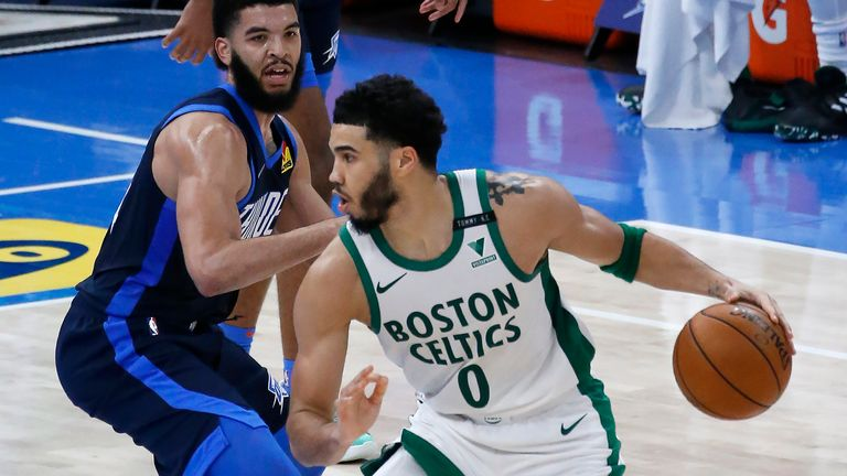 Jayson Tatum and Boston held off the Oklahoma City Thunder on Saturday night (AP Photo/Garett Fisbeck)