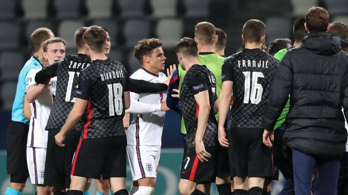 England U21 players clash with Croatia U21 players at the final whistle as they are knocked out of Euro 2021