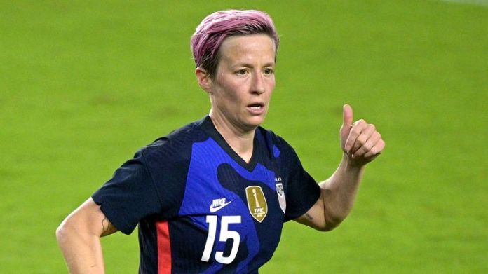 United States forward Megan Rapinoe (15) during the second half of a SheBelieves Cup women's soccer match against Argentina, Wednesday, Feb. 24, 2021, in Orlando, Fla. (AP Photo/Phelan M. Ebenhack)
