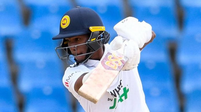 Pathum Nissanka scored an unbeaten 49 on day three of the second Test against West Indies in Antigua