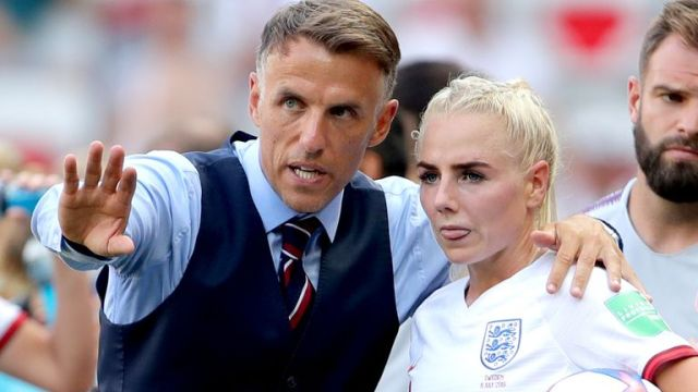 England head coach Phil Neville talks tactics with Alex Greenwood during the FIFA Women's World Cup Third Place Play-Off at the Stade de Nice, Nice. PRESS ASSOCIATION Photo. Picture date: Saturday July 6, 2019. See PA story SOCCER England Women. Photo credit should read: Richard Sellers/PA Wire. RESTRICTIONS: Editorial use only. No commercial use. No use with any unofficial 3rd party logos. No manipulation of images. No video emulation.