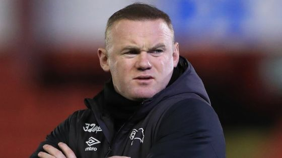 Derby County Manager Wayne Rooney before the Sky Bet Championship match in Oakwell, Barnsley.  Image date: Wednesday 10 March 2021 (PA)