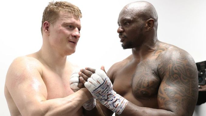 *** FREE FOR EDITORIAL USE ***.Alexander Povetkin v Dillian Whyte,  Interim WBC Heavyweight World Title..27 March 2021.Picture By Mark Robinson Matchroom Boxing.Dillian Whyte speaks to Alexander Povetkin back stage after his win.