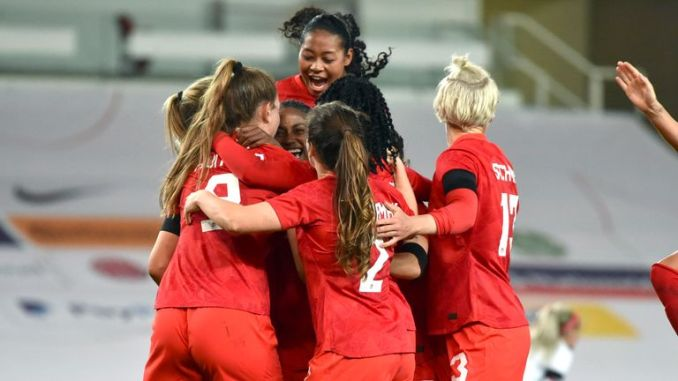 AP - Canada Women celebrate against England