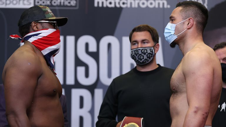 *** FREE FOR EDITORIAL USE ***.Derek Chisora and Joseph Parker during their Weigh In ahead of their Heavyweight Contest tomorrow night..30 April 2021.Picture By Mark Robinson Matchroom Boxing