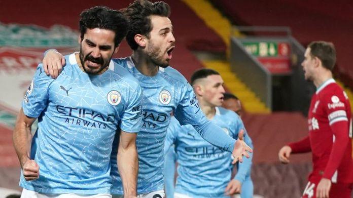 Man City's Ilkay Gundogan celebrates scoring against Liverpool