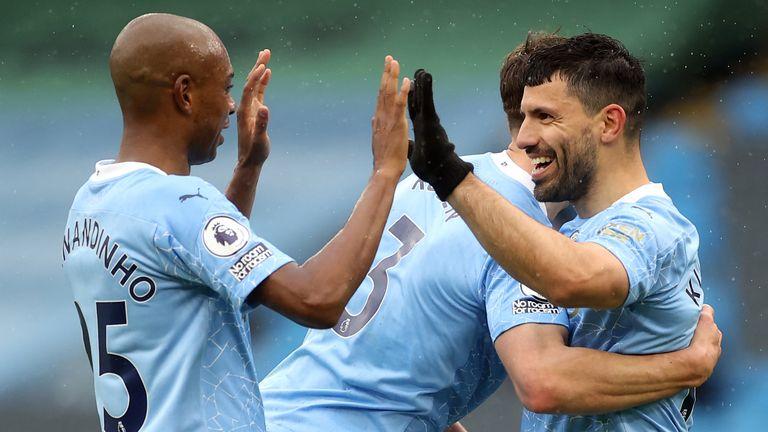 Sergio Aguero celebrates his second goal