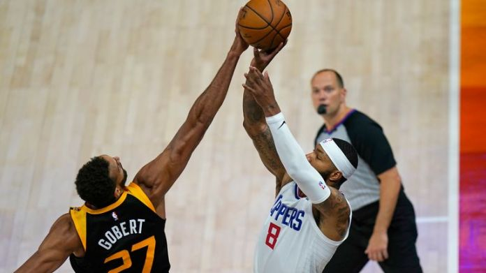 Rudy Gobert made the pivotal block in the closing seconds as Utah held on to beat the Los Angeles Clippers in Game 1 of the Western Conference semi-finals.