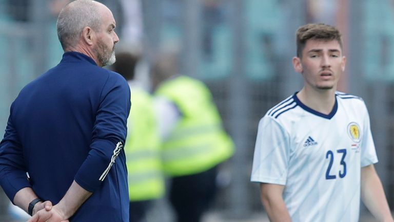 Scotland head coach Steve Clarke (left) with Billy Gilmour