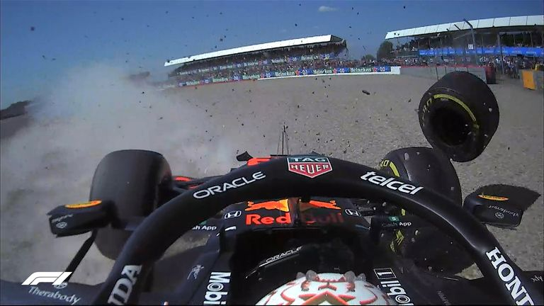 Max Verstappen hit the barriers after colliding with Lewis Hamilton during the first lap of the British GP, resulting in a red flag