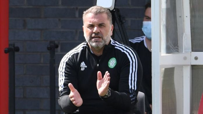 SNS - NEWPORT, WALES - JULY 07: Celtic manager Ange Postecoglou during a pre-season friendly between Celtic and Sheffield Wednesday at Dragons Park on July 07, 2021, in Newport, Scotland.  (Photo by Craig Foy / SNS Group)
