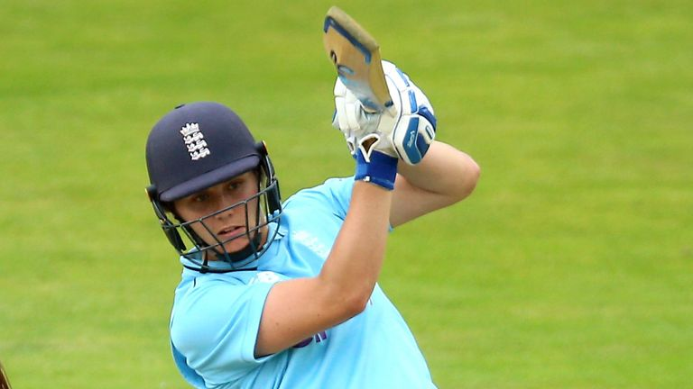 Nat Sciver top-scored for England with 49 from 59 balls before she fell to an excellent catch by Smriti Mandhana