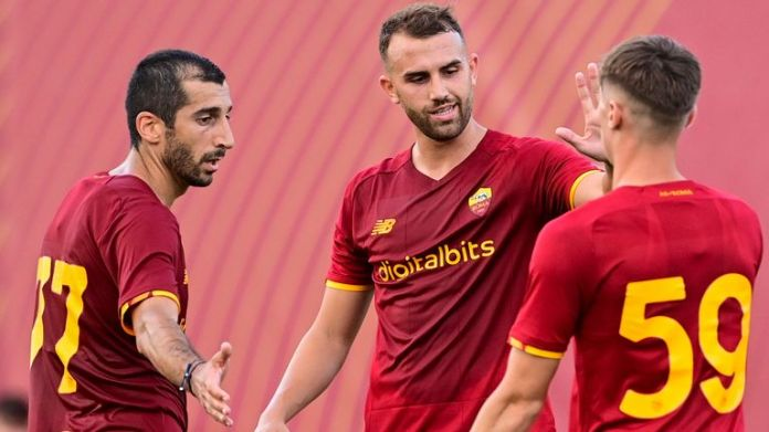 Henrikh Mkhitaryan, Nicola Zalewski and Borja Mayoral celebrate during Roma's 10-0 pre-season win