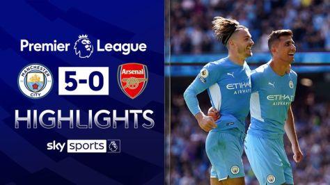 City hit five past 10-man Arsenal