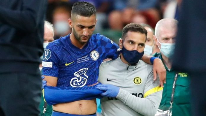 Chelsea's Hakim Ziyech leaves the pitch after an injury during the UEFA Super Cup match between Chelsea and Villarreal at Windsor Park in Belfast
