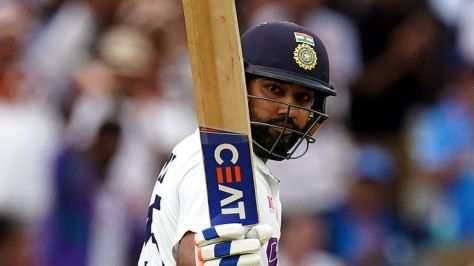 Indian opener Rohit acknowledges the Lord's crowd as he brings up his half century