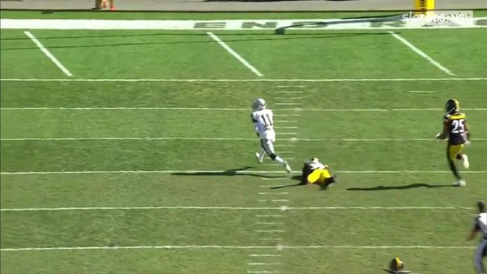 Carr's 61-yard touchdown pass to wide receiver Henry Ruggs III against the Steelers