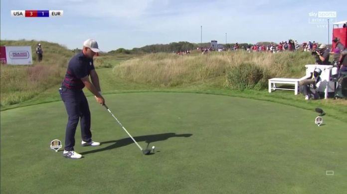 Bryson DeChambeau used his power hitting to his advantage with a monster 417-yard tee shot, on an aggressive line, to leave himself just 72 yards from the flag at Whistling Straits' par-five fifth