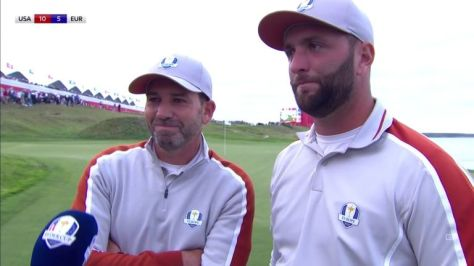 Sergio Garcia paid tribute to Jon Rahm after the Spanish duo defeated Brooks Koepka and Jordan Spieth in the Ryder Cup fourballs.