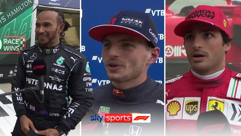 Lewis Hamilton, Max Verstappen and Carlos Sainz took the top three podium spots at the Russian Grand Prix.