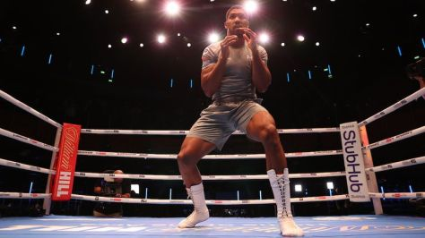 Anthony Joshua during a Open Workout ahead of his fight this weekend at Tottenham Hotspur Stadium..21 September 2021.Picture By  Matchroom Boxing
