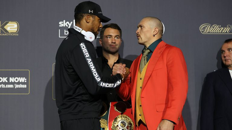 Anthony Joshua and Oleksander Usyk Final Press Conference ahead of their World Heavyweight Title clash on saturday night at the Tottenham Hotspur Stadium in London.23 September 2021.Picture By Mark Robinson Matchroom Boxing