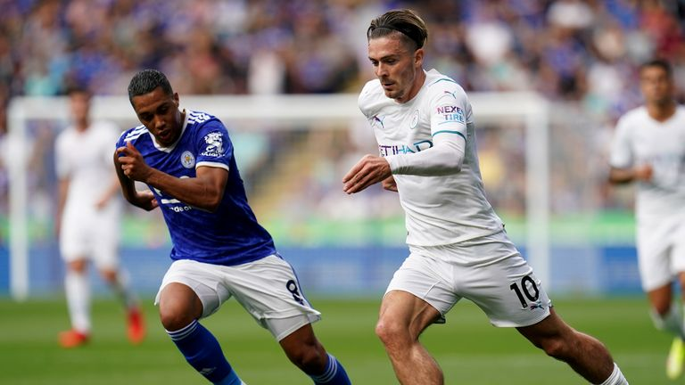 Jack Grealish glides at the Leicester defence