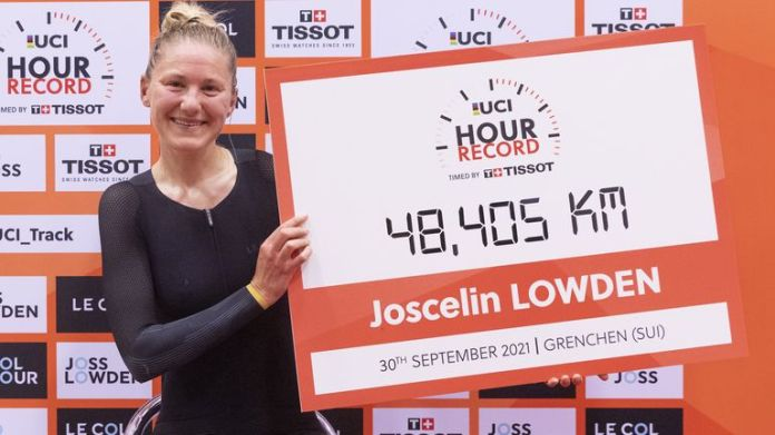 Bigham's fiancee Joss Lowden became UCI world hour record holder on Thursday