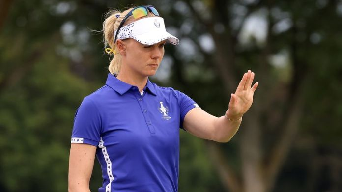 Sagstrom admitted it was a tough battle as she controversially lost her fourballs match at the Solheim Cup