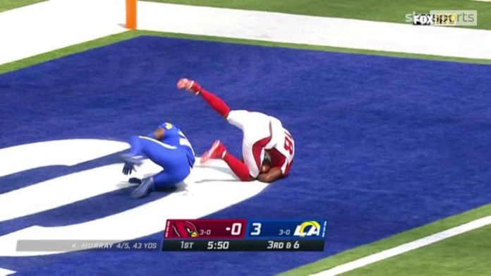 Kyler Murray threw a deep 41-yard touchdown pass to A.J. Green for the Cardinals against the Rams.