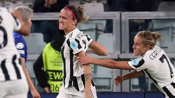 Barbara Bonansea celebrates scoring for Juventus against Chelsea in the Women's Champions League