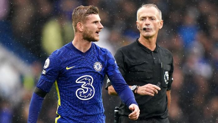 Chelsea's Timo Werner speaks to referee Martin Atkinson after seeing his goal not given after a VAR check
