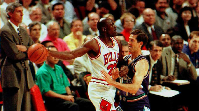 Michael Jordan during a meeting with the Chicago Bulls.
