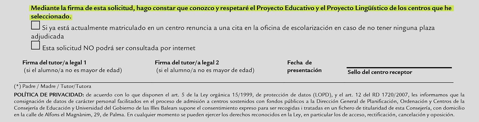 Resultado de imagen de impreso colegios baleares renuncia al castellano