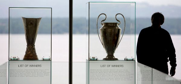 The trophies of the Champions League and the Europa League, at UEFA headquarters.