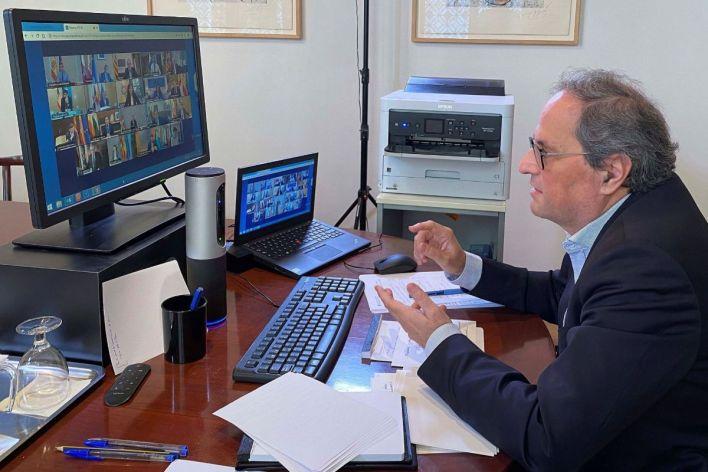 Ell presidente de la Generalitat, QuimTorra, hoy en la videoconferencia.