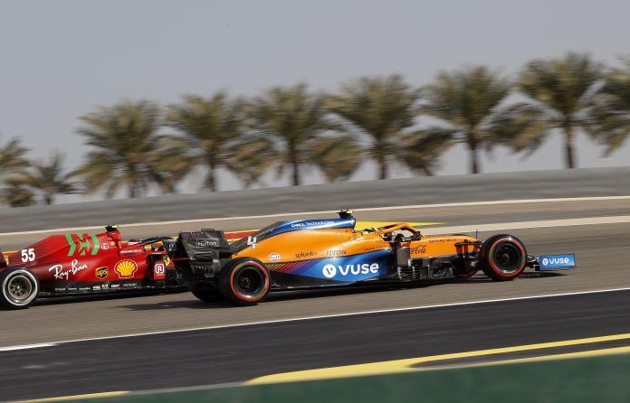 Lando Norris is paired with Sainz's Ferrari.