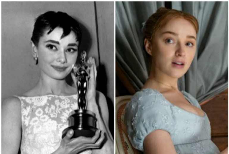 Mini fringe, reasonable resemblances: Audrey Hepburn in 1954 and Daphne Bridgerton in the Netflix series 'The Bridgertons'.