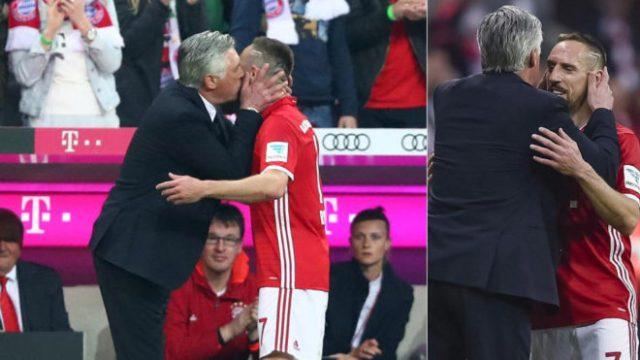 Hasil gambar untuk ancelotti kiss ribery