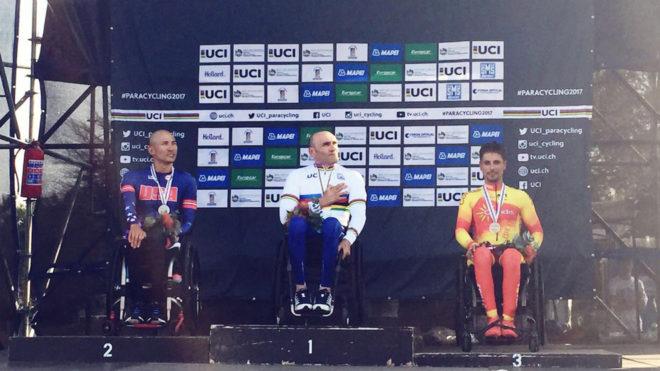 Sergio Garrote, en el podio del Mundial de Sudáfrica.