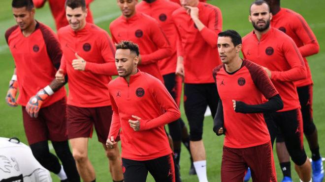 Neymar and Di Maria, training.