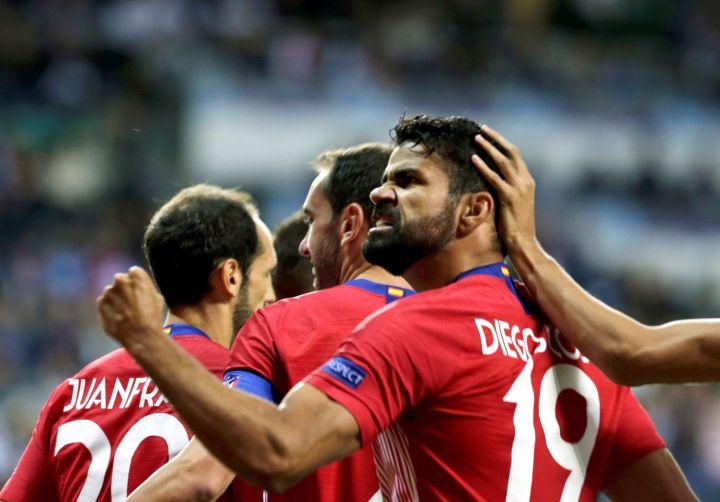 Diego Costa esulta con la maglia dell'Atlético   Numerosette Magazine