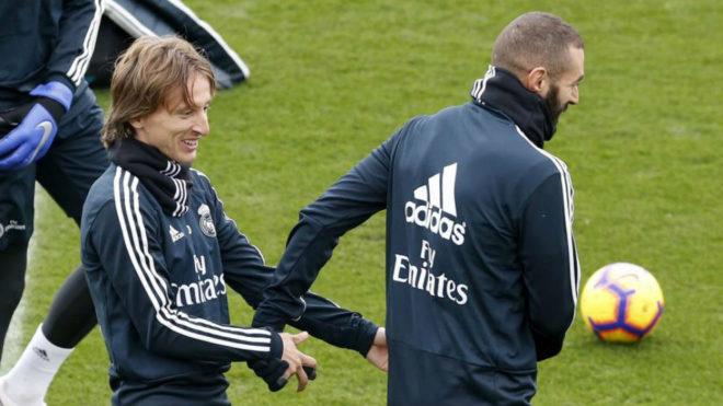Modric and Benzema, at Valdebebas
