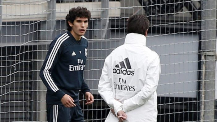 Jesus Vallejo and Santiago Solari during a training session this...