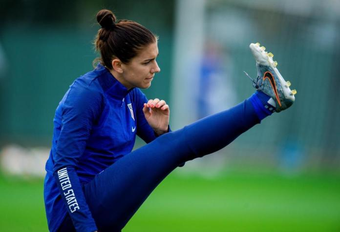Alex Morgan during a training session of the united States in France.