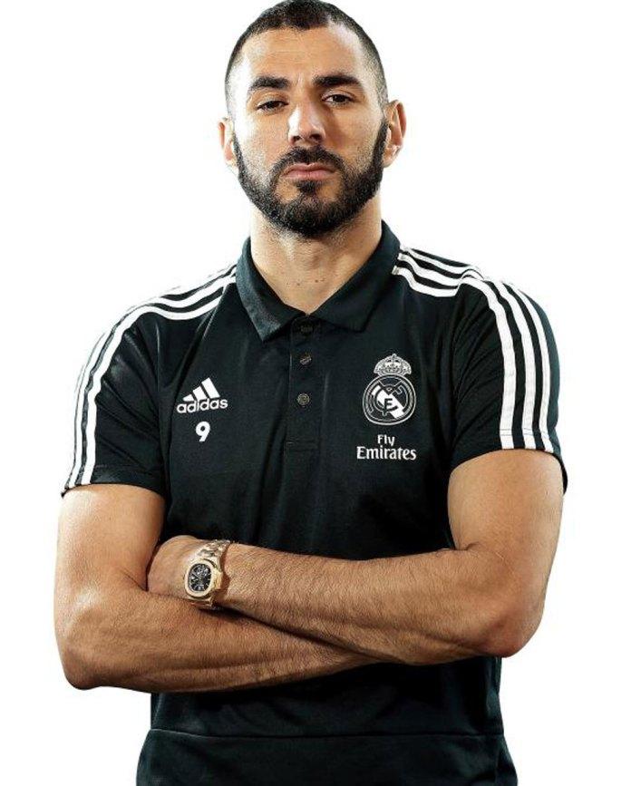 Karim Benzema poses for MARCA with his Patek Philippe Nautilus 5980 / 1R ....