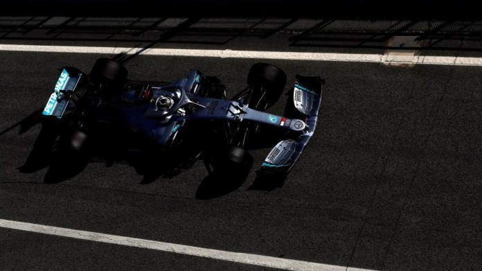 Bottas leaves the pits in the Circuit.
