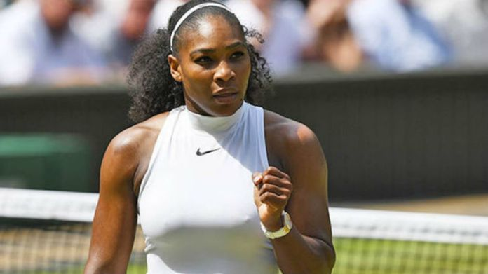 Serena Williams during a match at Wimbledon
